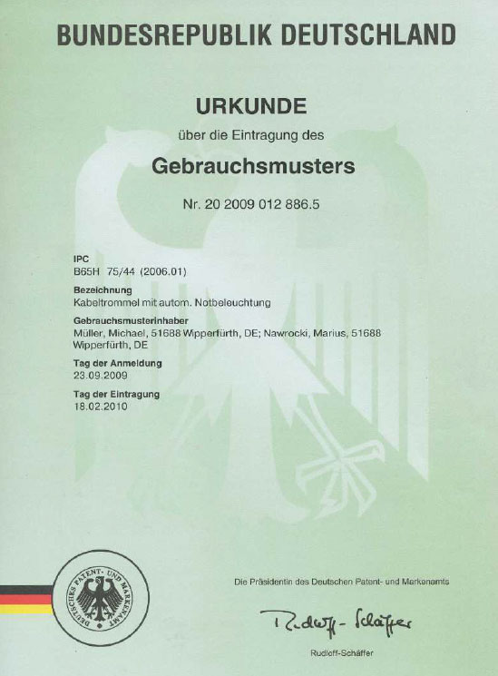 Kabeltrommel mit autom. Notbeleuchtung Patent: 20 2009 012 886.5 / 2009