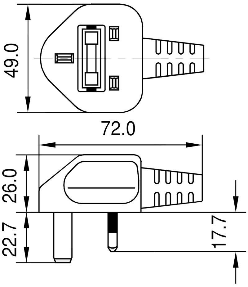 BP1 England Winkelstecker Commonwealth-Stecker Typ G