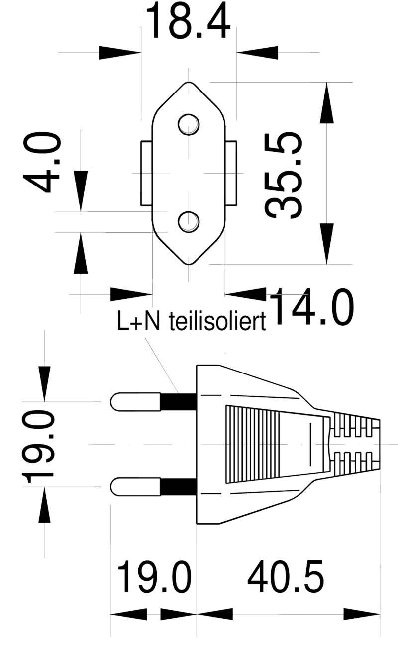 M10SI Italien-Stecker 2-polig 10a