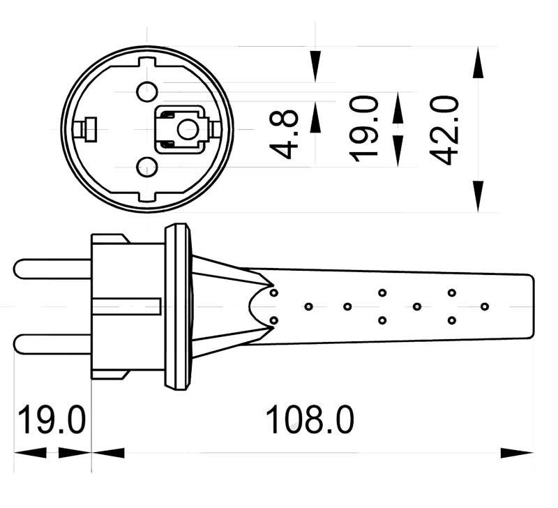 K1A-4 Schutzkontaktzentralstecker IP44 Typ E und Typ F