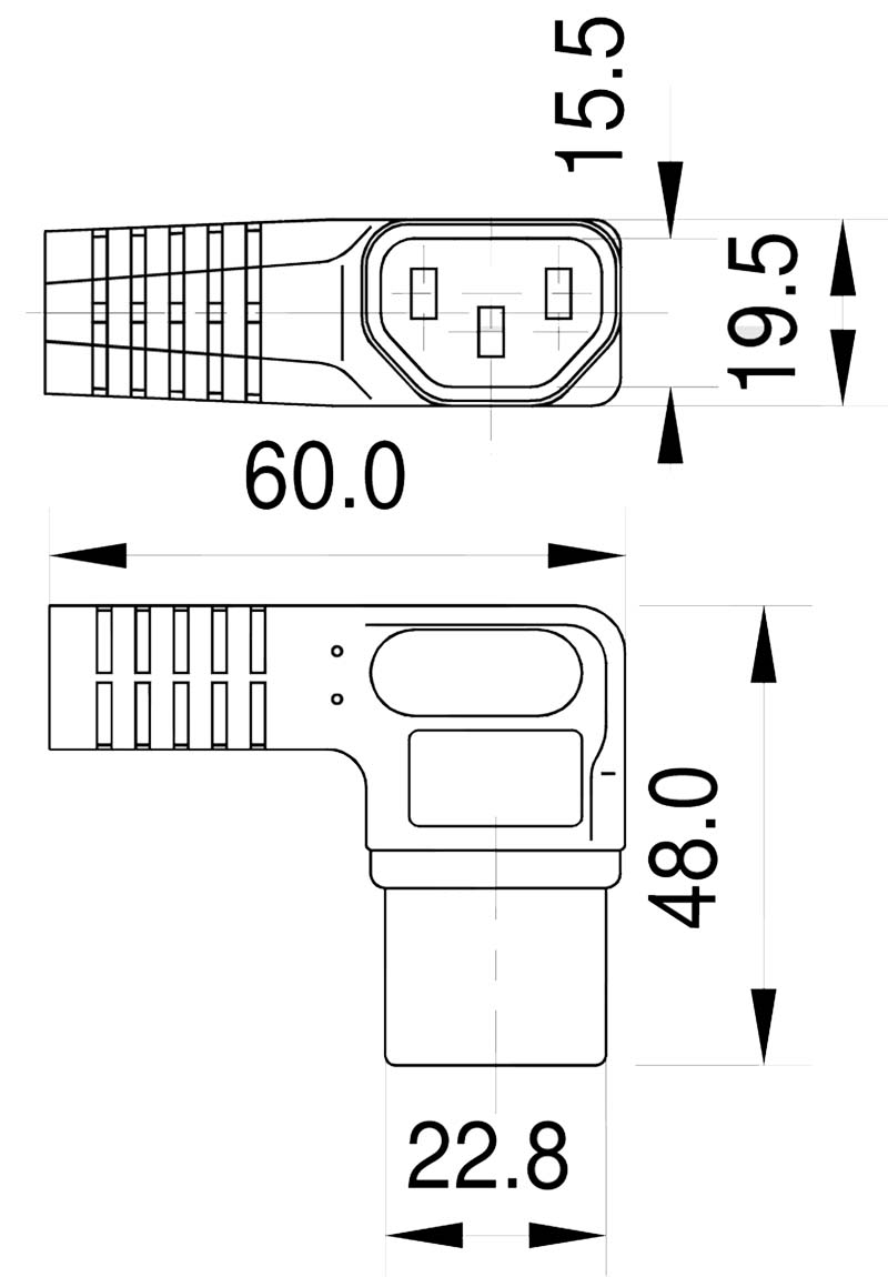 K7A-1WL Kaltgeräte-Winkelbuchse C13-links gewinkelt