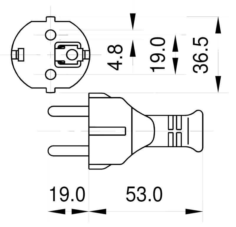 M01B Schutzkontaktzentralstecker Typ E und Typ F